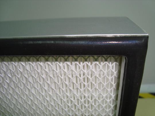 铝框高效无隔板过滤器局部特写