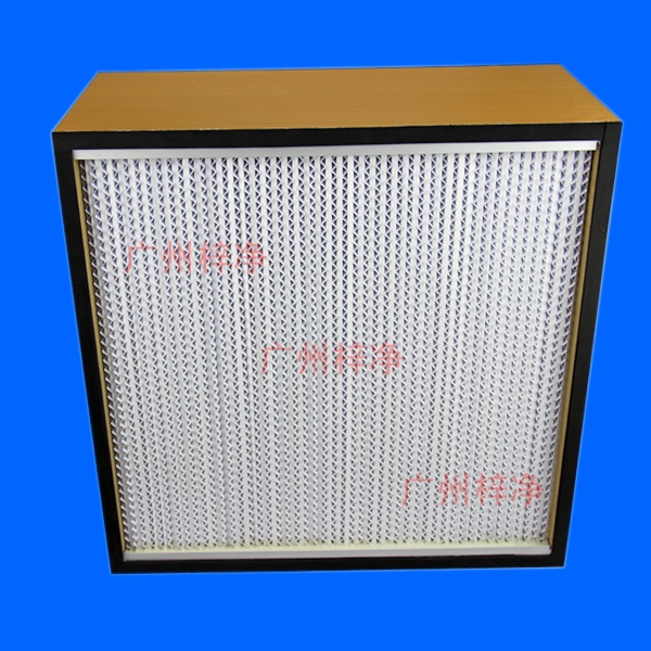 木框有隔板高效过滤器使用隔板式设计,波纹隔板可以精确地保持褶层间距,有最小阻力下,最大限度地利用滤料