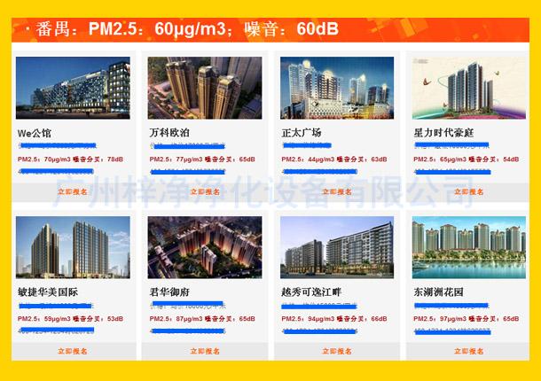 番禺:PM2.5:60μg/m3;噪音:60dB