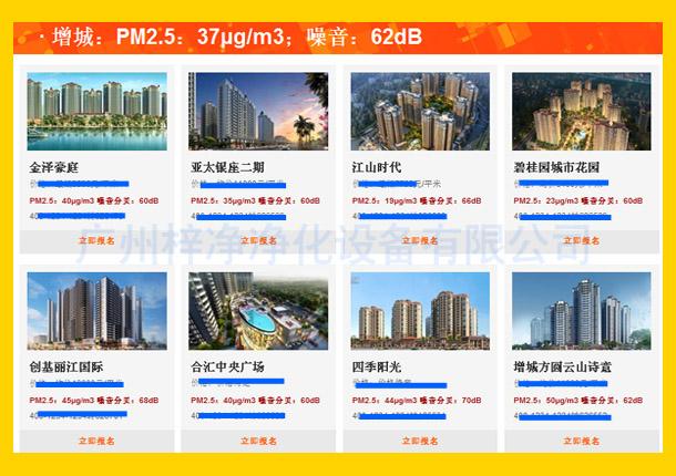 增城:PM2.5:37μg/m3;噪音:62dB