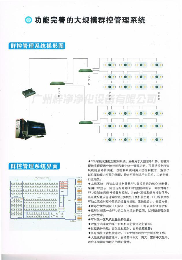 FFU智能化集散型控制系统,主要用于大型洁净厂房,能够方便地实现现场分散控制和集中统一管理功能。可灵活控制 FFU风机的启停和调速,该控制系统利用分区控制技术,解决了以往驱动能力有限的问题,最大可控制几千台风机,功能完 善,行业领先