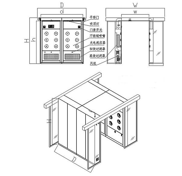 自动平移门风淋室方案图