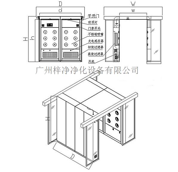 自动平开门风淋室设计方案图