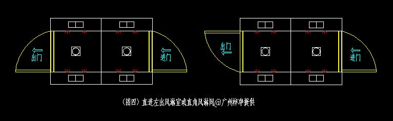 直角风淋门结构平面图