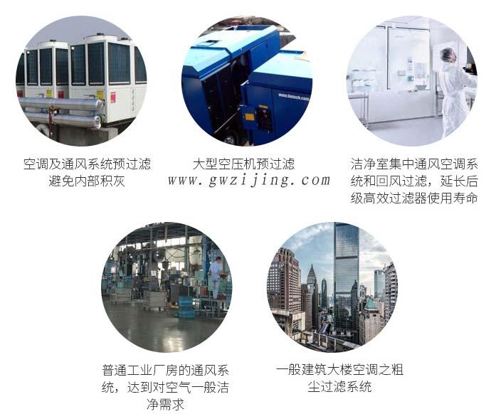 大风量初效过滤器应用领域包括空调、空压机、洁净室等需要预过滤的地方。
