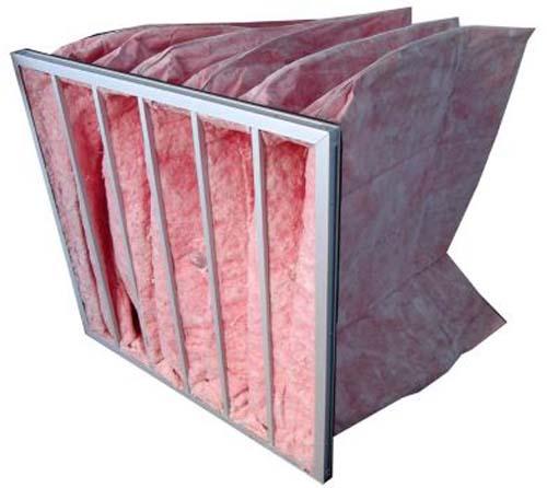 F7级玻璃纤维袋式中效过滤器侧面图
