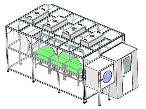 风淋室及洁净棚和传递窗在洁净无尘室的安装图