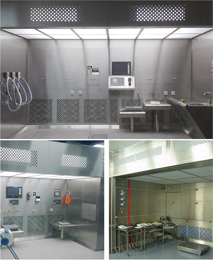 中心称量室由工作区、外箱体、回风箱体、风机箱体、出风箱体、初效过滤器、中效过滤器、高效过滤器、可变风量风机组、PLC控制系统和传感系统等几大部件组成分拼装而成。